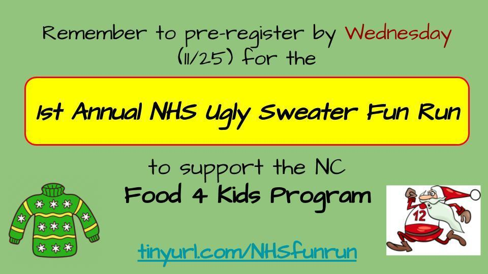 Pre-register for the Ugly Sweater Fun Run by Wednesday!