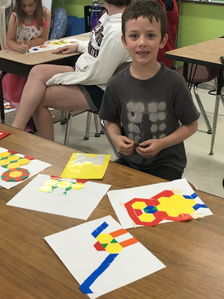 Math Superheroes Creating with Pattern Blocks. We had so much fun learning during Summer School!