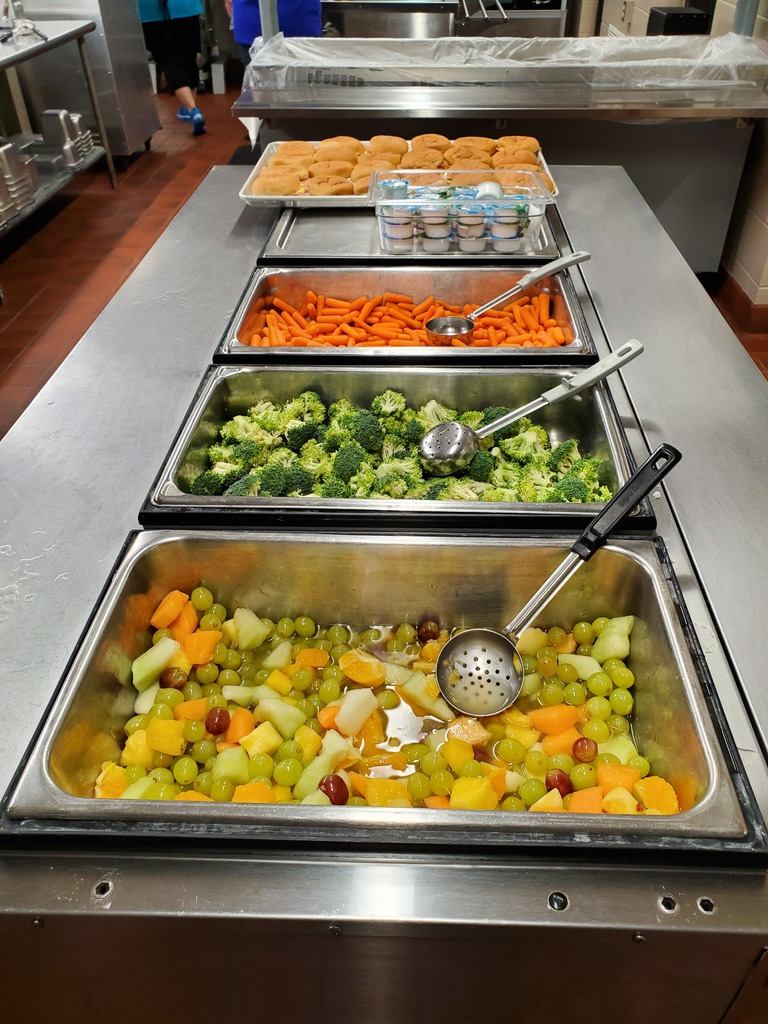 Lunch line today included fruit salad, fresh broccoli and carrots with a new menu item, Turkey, Bacon & Cheese Melt Sandwich