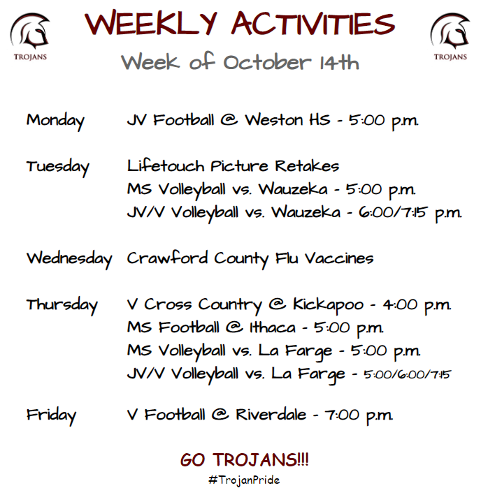 Weekly Activities for Week of 10/14
