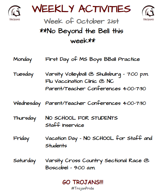 Weekly Activities for 10-21
