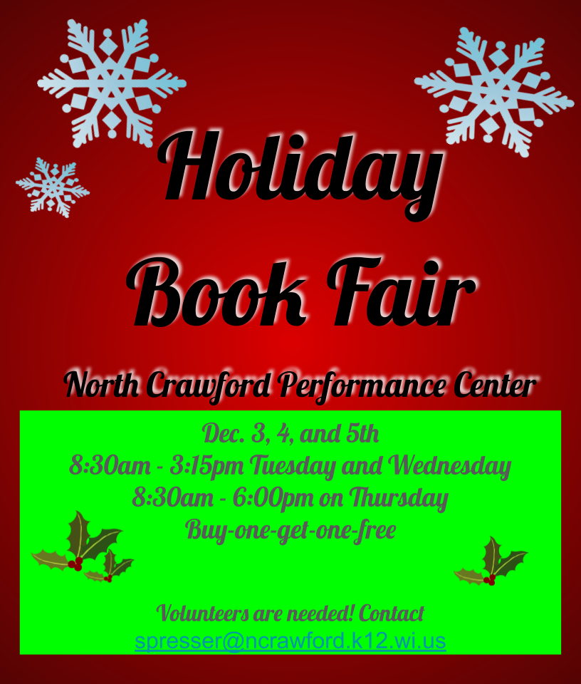 Book Fair, December 3, 4, and 5th
