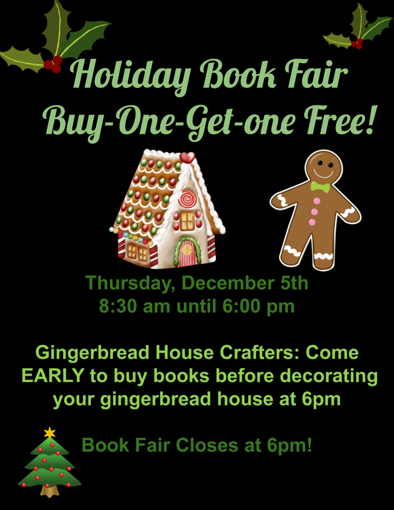 Book Fair 12/5 until 6pm