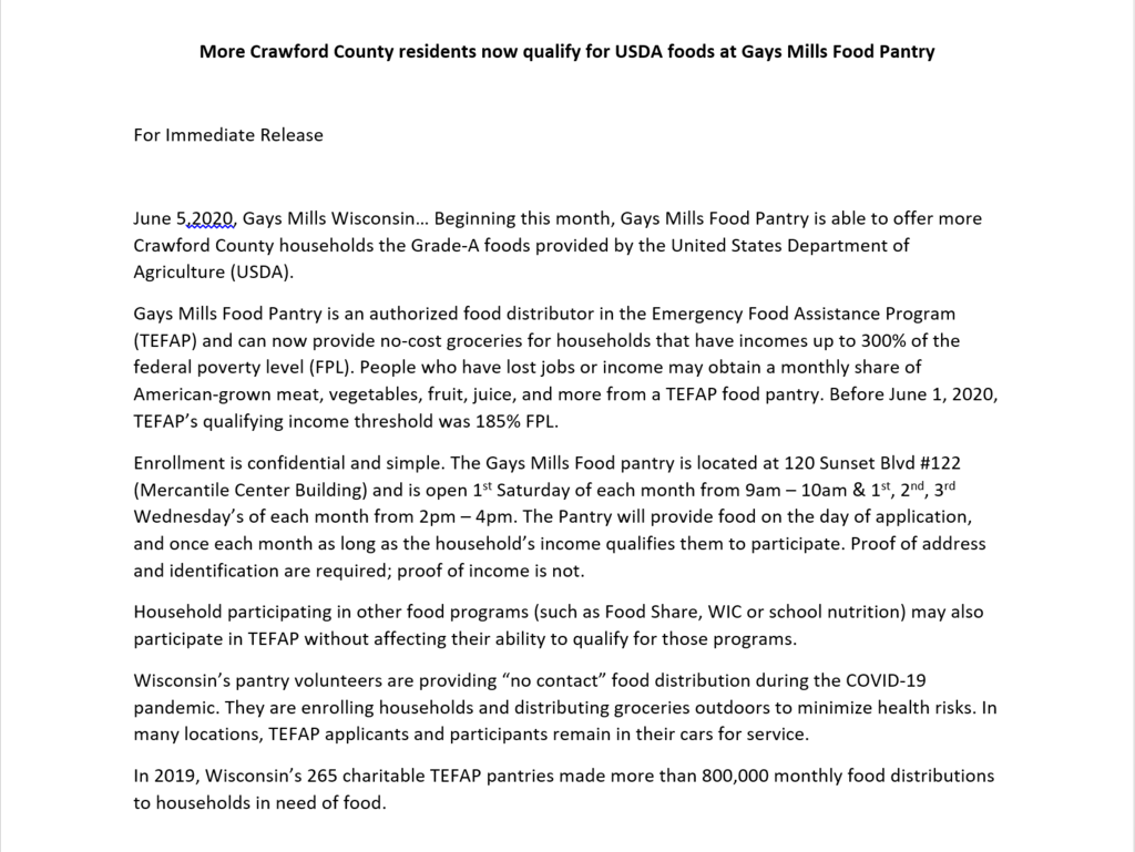 Food Pantry Press Release